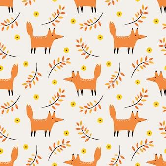 Lindo zorro en otoño vector de patrones sin fisuras.