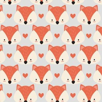 Lindo zorro patttern con corazón