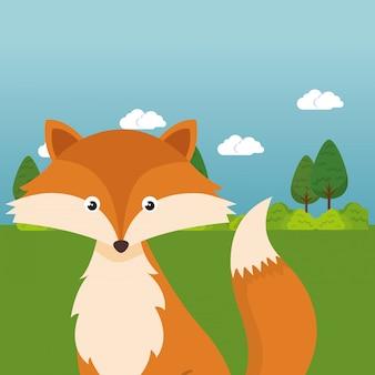 Lindo zorro en el personaje de paisaje de campo