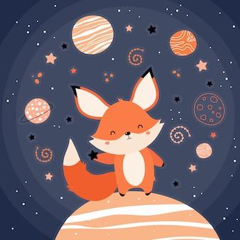 Lindo zorro rojo en el espacio