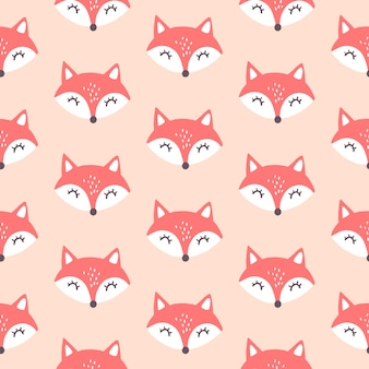 Lindo zorro rojo de patrones sin fisuras.