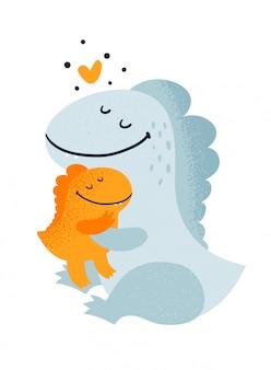 Lindos adorables familia de dinosaurios