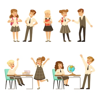 Lindos alumnos en uniforme escolar gris divirtiéndose en el set escolar, regreso a la escuela, concepto de educación coloridas ilustraciones