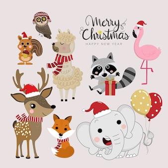 Lindos animales del bosque en las vacaciones de navidad.