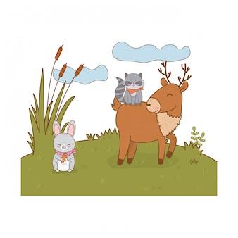 Lindos animales en el campo arbolado personajes.