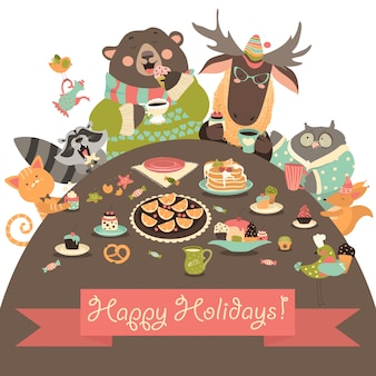 Lindos animales celebrando fiestas