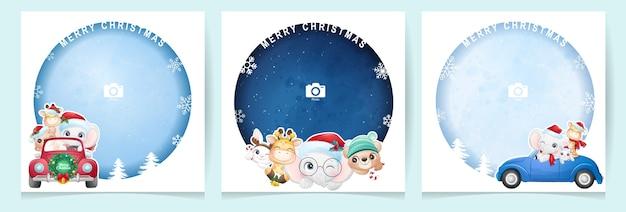 Lindos animales doodle para el día de navidad con colección de marcos de fotos