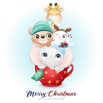 Lindos animales doodle para el día de navidad con ilustración de acuarela