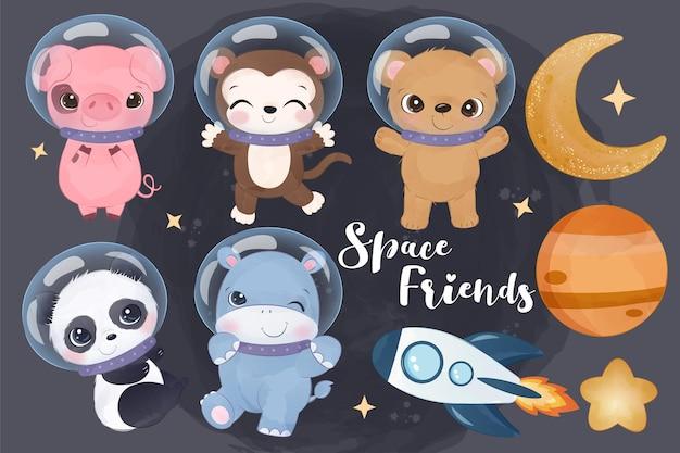 Lindos animales espaciales en acuarela ilustración