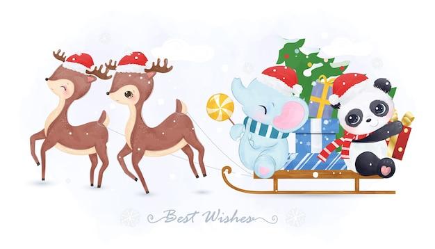 Lindos animales jugando juntos en el día de navidad.