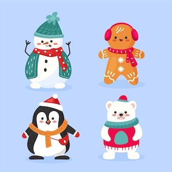 Lindos animales navideños con bufanda dibujados a mano