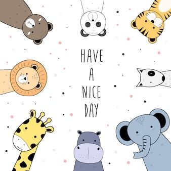 Lindos animales salvajes saludo dibujos animados doodle fondo