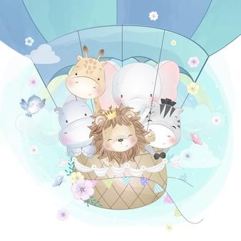 Lindos animales volando con globo