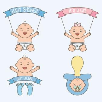 Lindos bebés pequeños con marco de cintas.