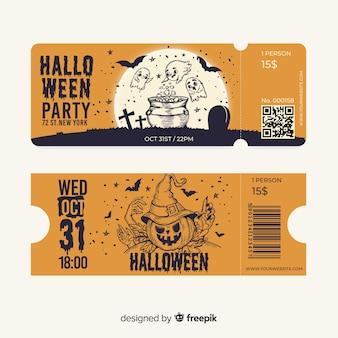 Lindos boletos de halloween dibujados a mano