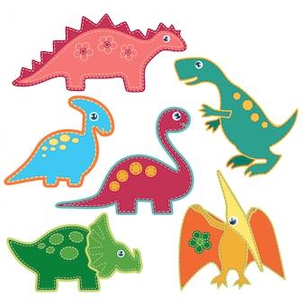 Lindos brillantes parches de dinosaurios establecidos