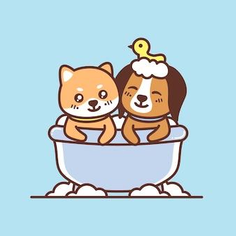 Lindos cachorros en la ilustración de la bañera