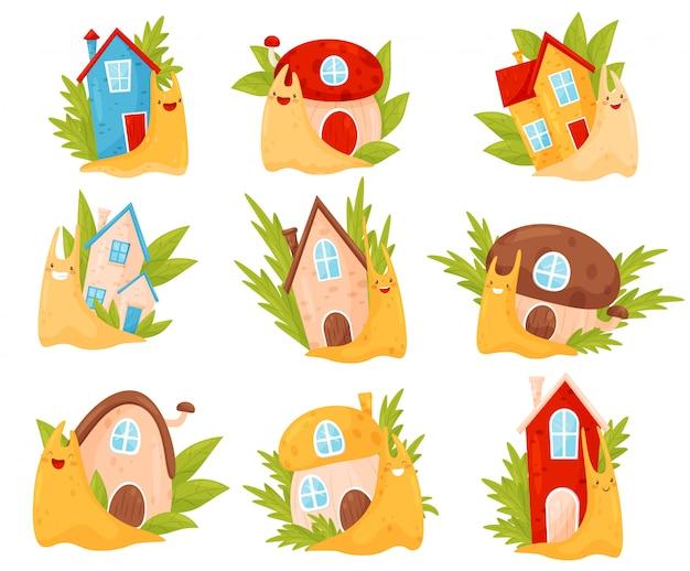 Lindos caracoles con coloridas casas de concha en su espalda, divertidos personajes de dibujos animados de moluscos ilustración sobre un fondo blanco