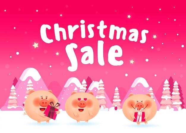Lindos cerdos en ropa de navidad