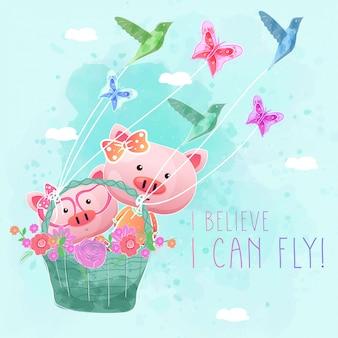 Lindos cerdos volando con cesta de primavera.
