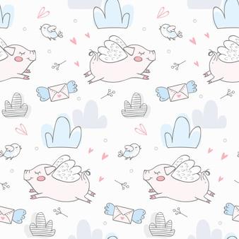 Lindos cerdos volando niños sin patrón