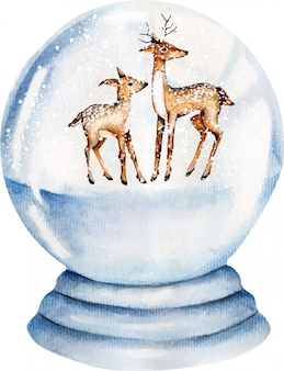 Lindos ciervos de acuarela dentro de una bola de cristal cubierto de nieve, diseño de tarjeta de navidad