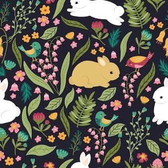 Lindos conejitos en el jardín de patrones sin fisuras. diseño de patrones sin fisuras de los niños.