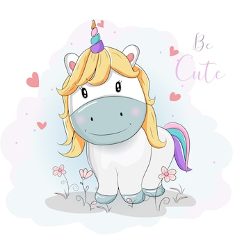 Lindos dibujos animados de unicornios en los campos de flores