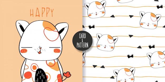 Lindos dibujos de perros mascotas mascotas dibujadas a mano sosteniendo un globo en la mano regalo para cumpleaños usar un disfraz estampado simple gestos divertido y divertido sonrisa colorida en patrón e ilustración sin costuras