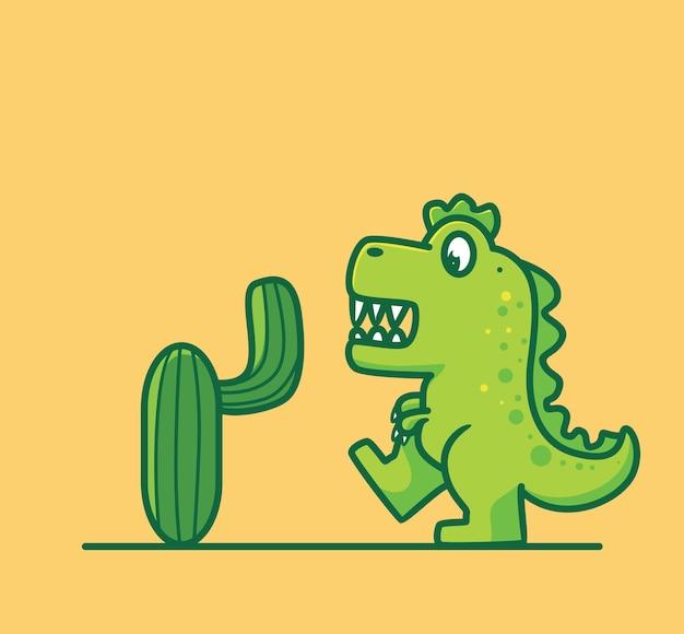 Lindos dinosaurios se encuentran con una caricatura de cactus diseño web de etiqueta engomada de estilo plano aislado animal
