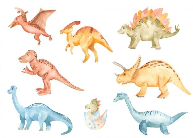 Lindos dinosaurios en estilo acuarela