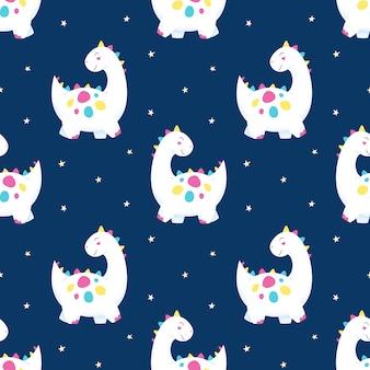 Lindos dinosaurios de patrones sin fisuras en el cielo estrellado
