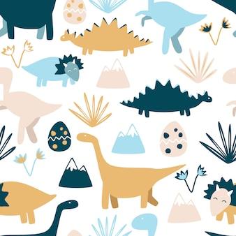 Lindos dinosaurios de patrones sin fisuras.