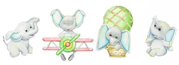 Lindos, elefantes, en un avión, en un globo, un conjunto de acuarela, animales en un estilo de dibujos animados, sobre un fondo aislado.