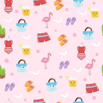 Lindos elementos de verano kawaii para papel tapiz de patrones sin fisuras