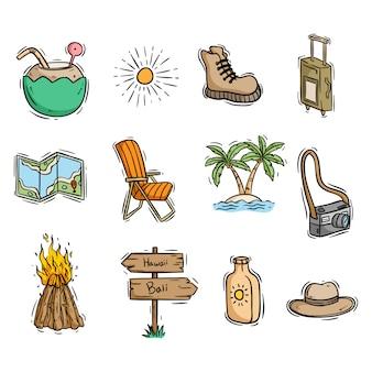 Lindos elementos de verano o playa con estilo de dibujo coloreado