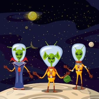 Lindos extraterrestres en trajes espaciales, personajes de dibujos animados de la tripulación de la nave espacial