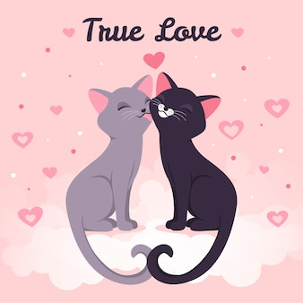 Lindos gatitos besándose ilustrado