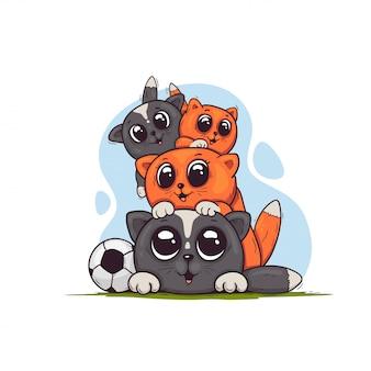 Lindos gatitos de dibujos animados