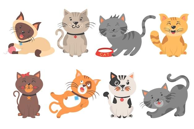 Lindos gatitos jugando, estirando y durmiendo. diferentes animales domésticos divertidos aislados sobre fondo blanco. colección de personajes de dibujos animados de gatos. diseño de estilo simple de color plano.