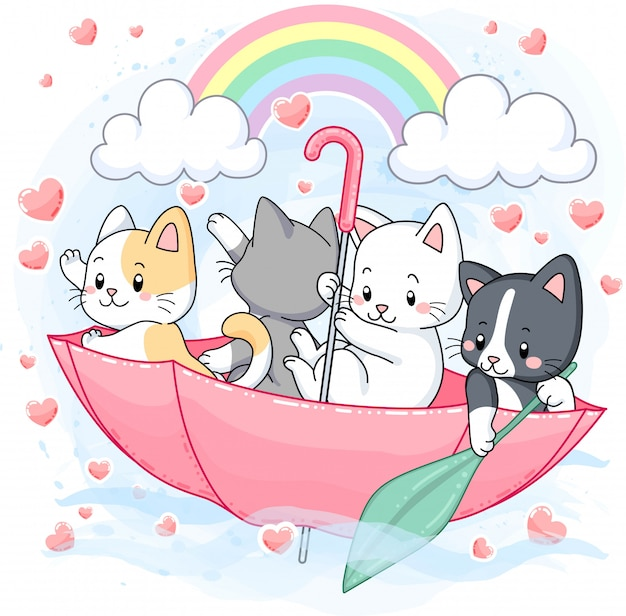 Lindos gatitos pasteles, paraguas con arcoiris