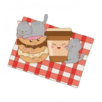 Lindos gatitos con personajes donuts kawaii