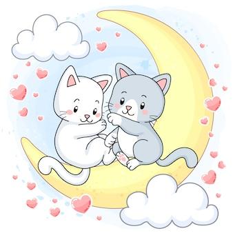 Lindos gatitos sentados en la luna rodeados de corazones rosas