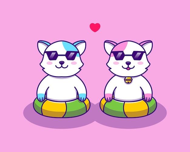 Lindos gatos nadando juntos