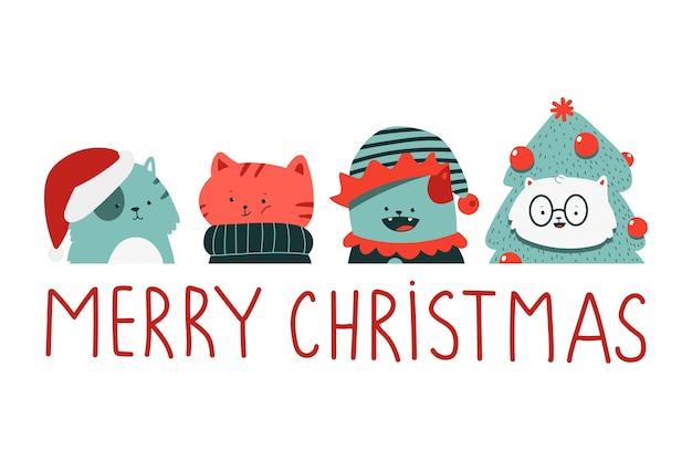 Lindos gatos de navidad en trajes de vacaciones personajes de dibujos animados conjunto aislado sobre fondo blanco.