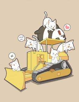 Lindos gatos y panda en tractor.