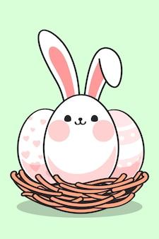 Lindos huevos de pascua con orejas de conejo en el nido