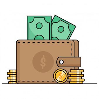 Lindos iconos de billetera con dinero y monedas de oro