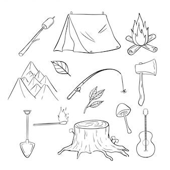 Lindos iconos o elementos de camping y recreación con estilo dibujado a mano