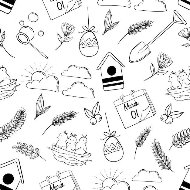 Lindos iconos de primavera en patrones sin fisuras con estilo dibujado a mano
